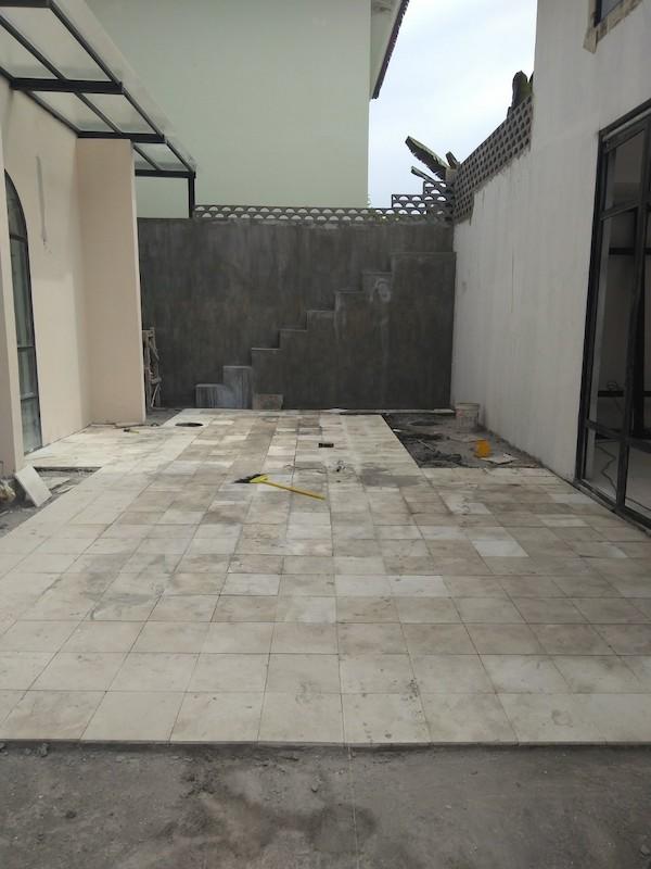 Bali Interiors Build Diary 33 tiling the courtyard