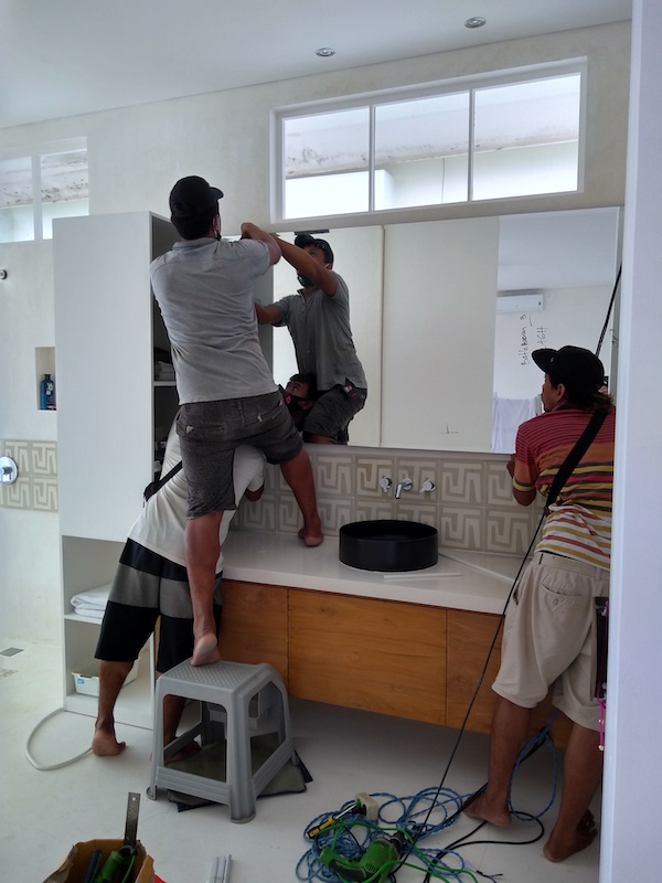 Bali Interiors Build Diary 36 mirror and resin
