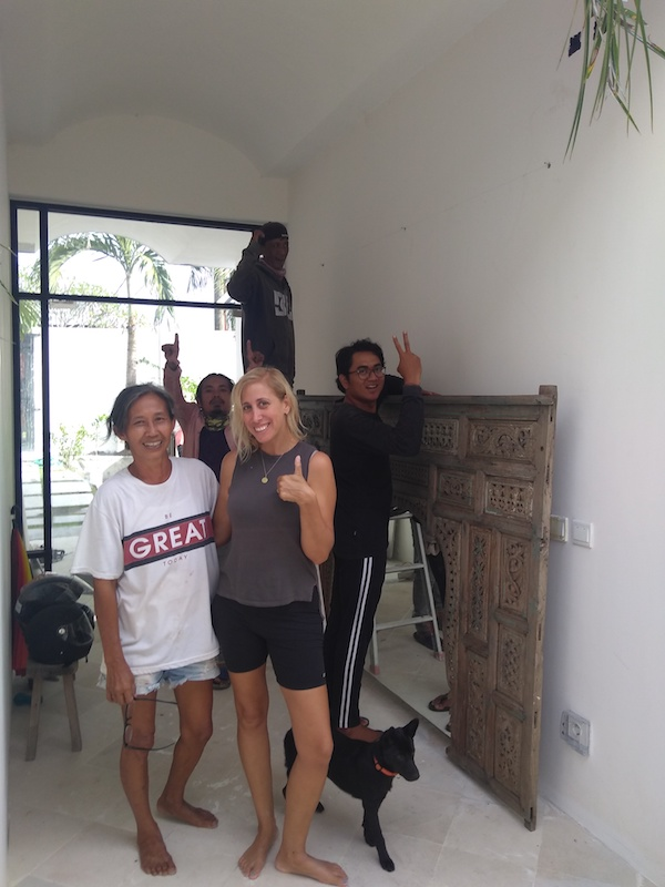 Bali Interiors Build Diary 39 installing the mirror